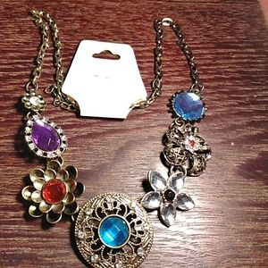 VINTAGE LOOK !!!RHINESTONE NECKLACE 📿💙💜